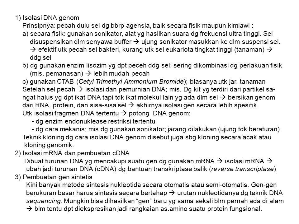 1) Isolasi DNA genom Prinsipnya: pecah dulu sel dg bbrp agensia, baik secara fisik maupun kimiawi :