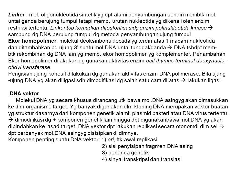 Linker : mol. oligonukleotida sintetik yg dpt alami penyambungan sendiri membtk mol.