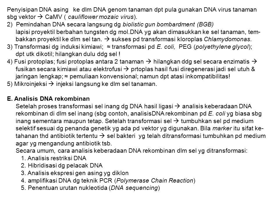 Penyisipan DNA asing ke dlm DNA genom tanaman dpt pula gunakan DNA virus tanaman
