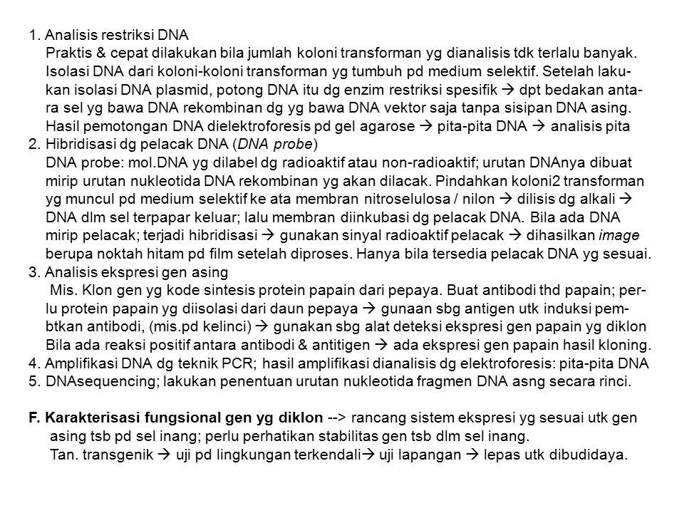 1. Analisis restriksi DNA