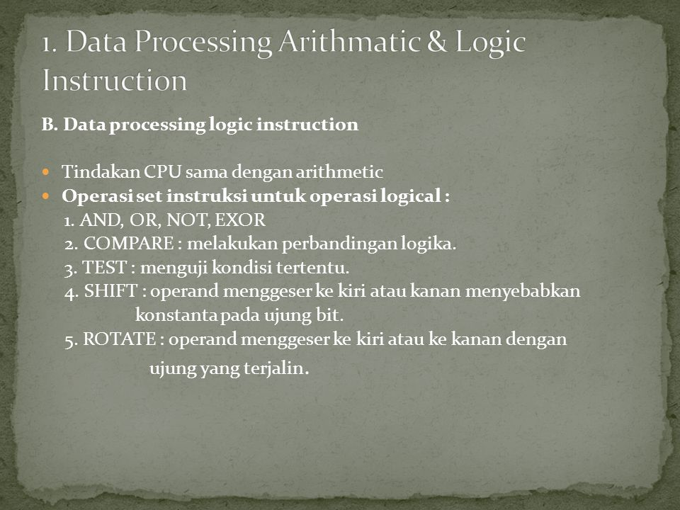 1. Data Processing Arithmatic & Logic Instruction