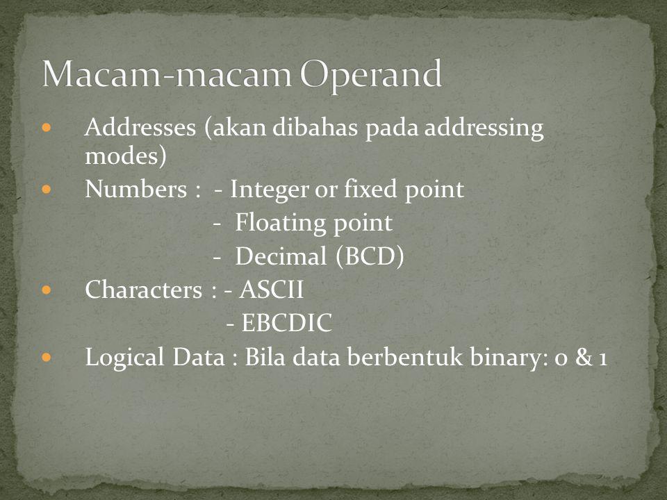 Macam-macam Operand Addresses (akan dibahas pada addressing modes)