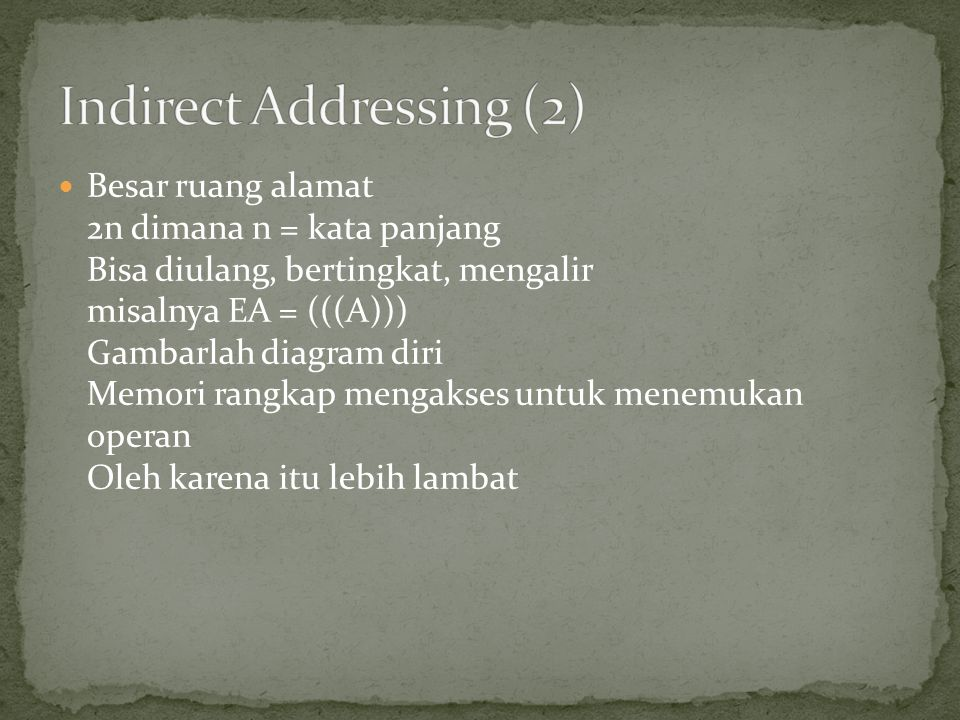 Indirect Addressing (2)