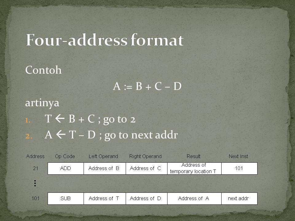 Four-address format Contoh A := B + C – D artinya T  B + C ; go to 2