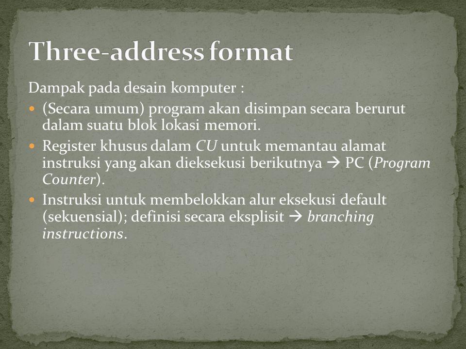Three-address format Dampak pada desain komputer :