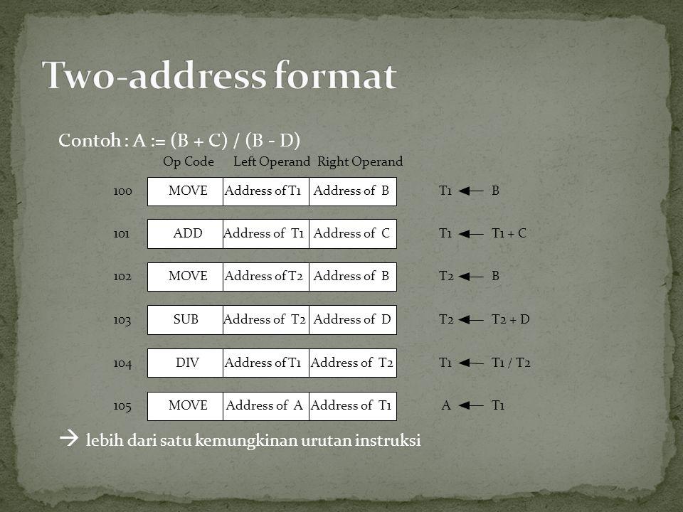 Two-address format  lebih dari satu kemungkinan urutan instruksi