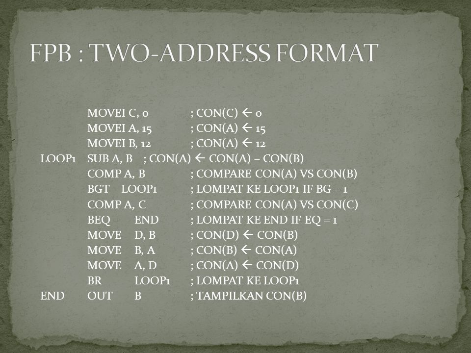 FPB : TWO-ADDRESS FORMAT