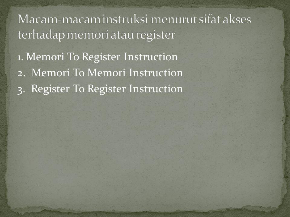 Macam-macam instruksi menurut sifat akses terhadap memori atau register
