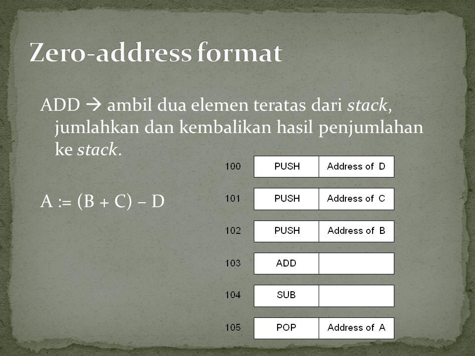 Zero-address format ADD  ambil dua elemen teratas dari stack, jumlahkan dan kembalikan hasil penjumlahan ke stack.