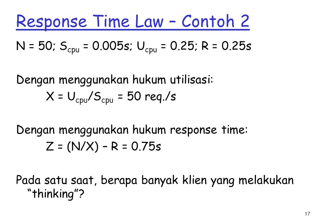Response Time Law – Contoh 2