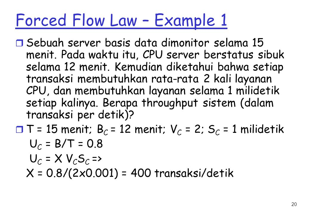 Forced Flow Law – Example 1