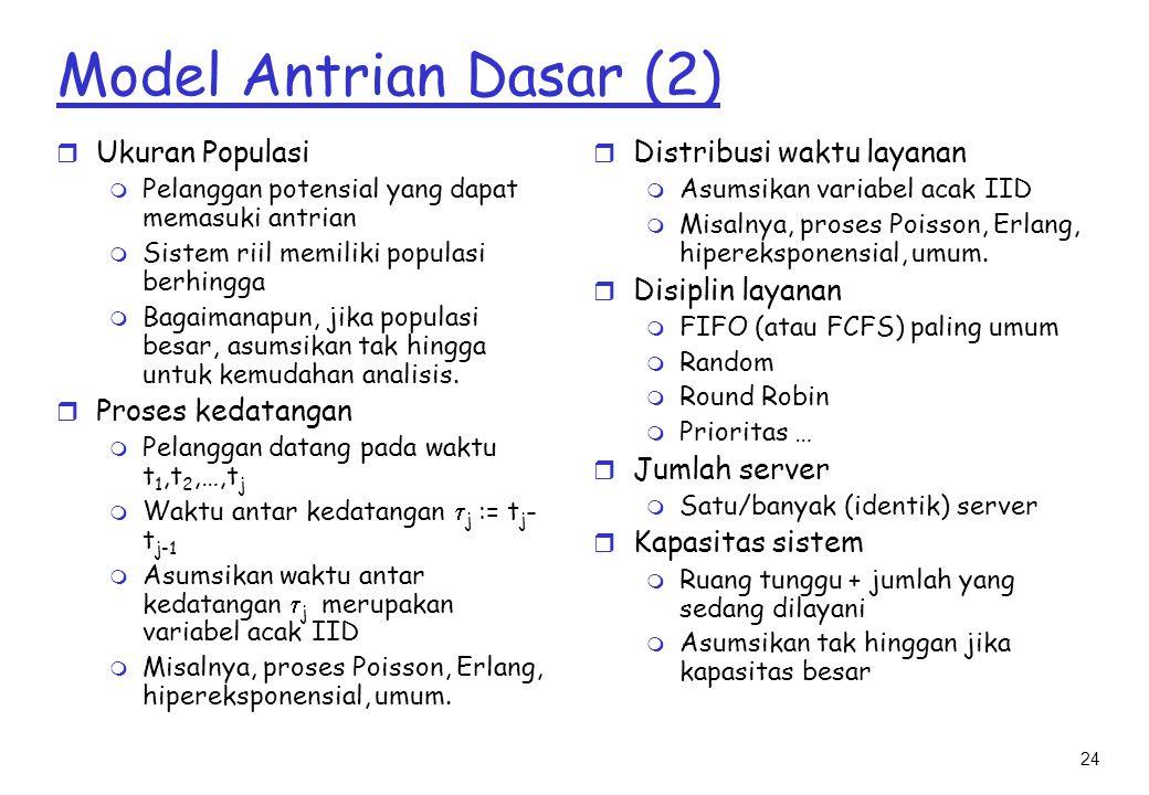 Model Antrian Dasar (2) Ukuran Populasi Proses kedatangan