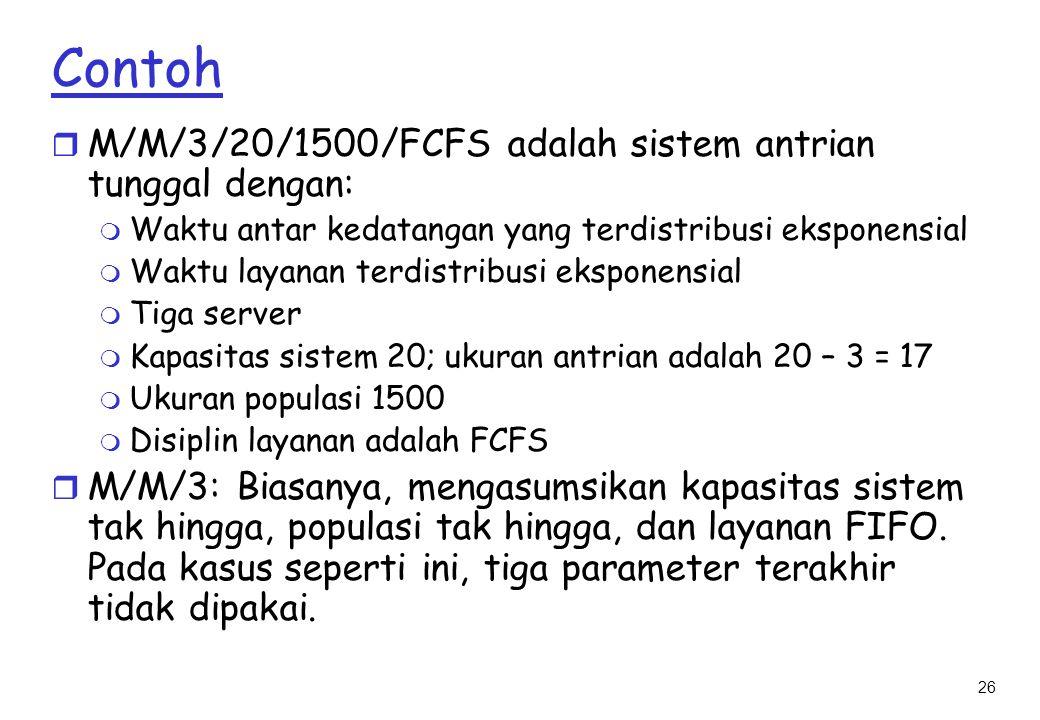 Contoh M/M/3/20/1500/FCFS adalah sistem antrian tunggal dengan: