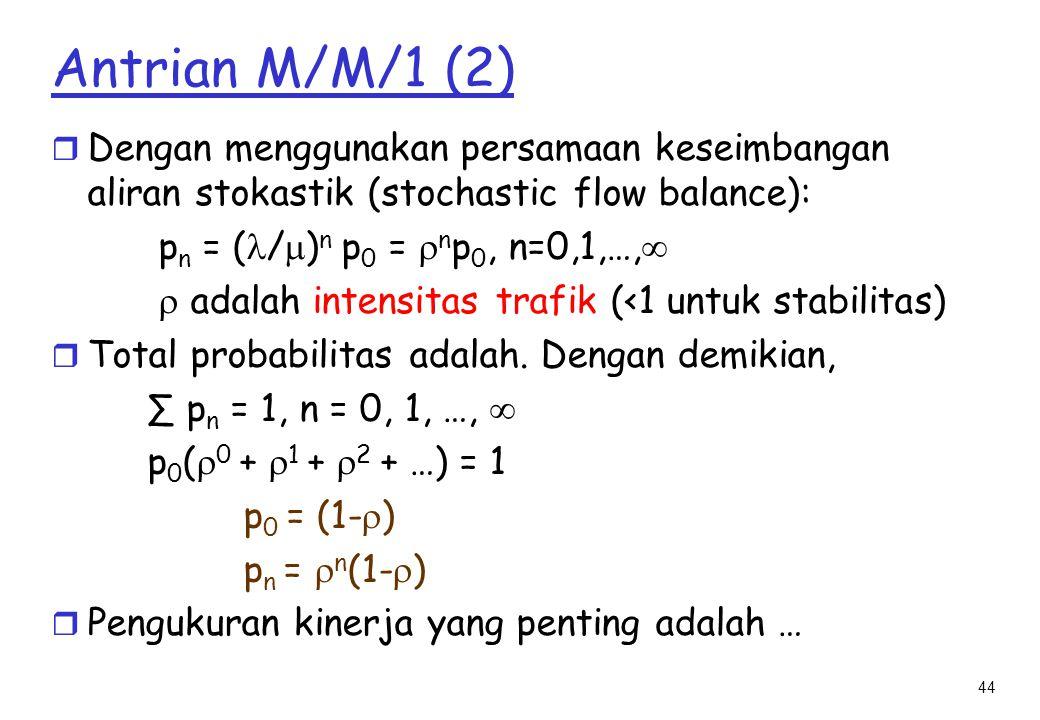Antrian M/M/1 (2) Dengan menggunakan persamaan keseimbangan aliran stokastik (stochastic flow balance):