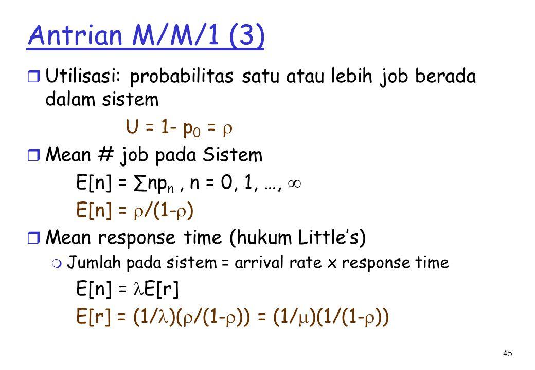 Antrian M/M/1 (3) Utilisasi: probabilitas satu atau lebih job berada dalam sistem. U = 1- p0 =  Mean # job pada Sistem.