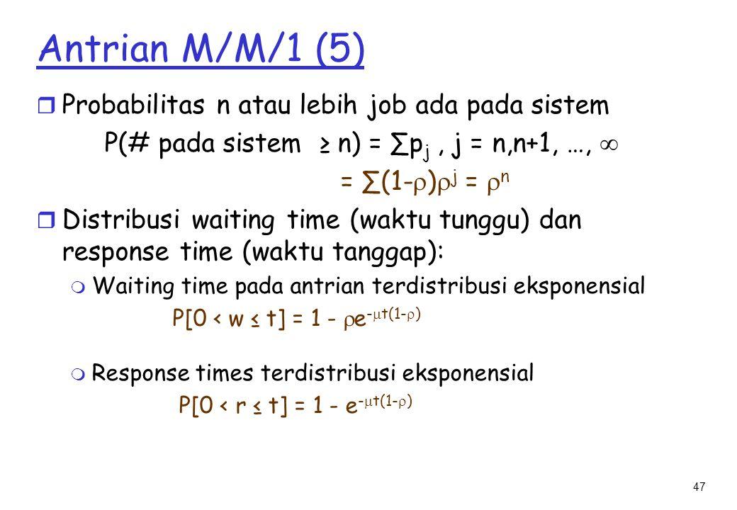 Antrian M/M/1 (5) Probabilitas n atau lebih job ada pada sistem