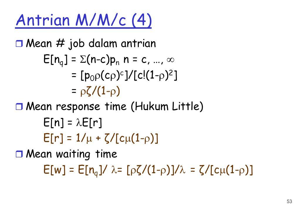 Antrian M/M/c (4) Mean # job dalam antrian