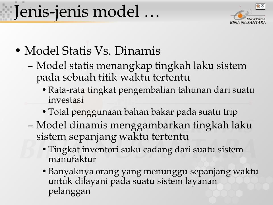 Jenis-jenis model … Model Statis Vs. Dinamis