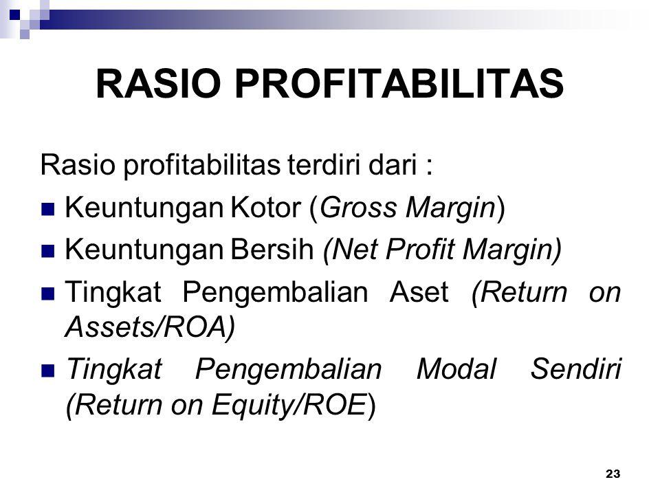RASIO PROFITABILITAS Rasio profitabilitas terdiri dari :