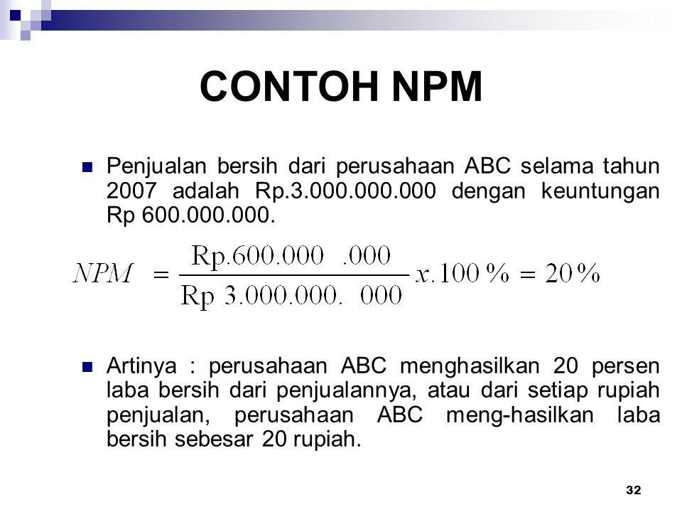 CONTOH NPM Penjualan bersih dari perusahaan ABC selama tahun 2007 adalah Rp.3.000.000.000 dengan keuntungan Rp 600.000.000.