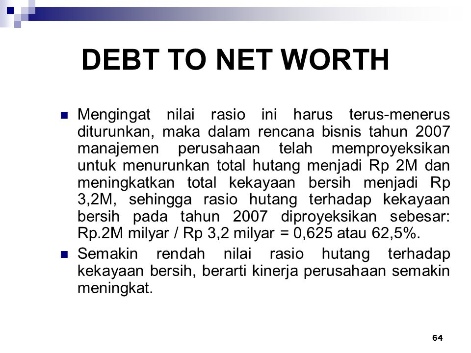 DEBT TO NET WORTH