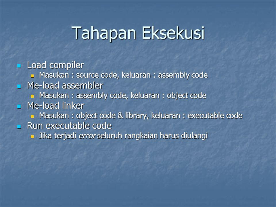Tahapan Eksekusi Load compiler Me-load assembler Me-load linker