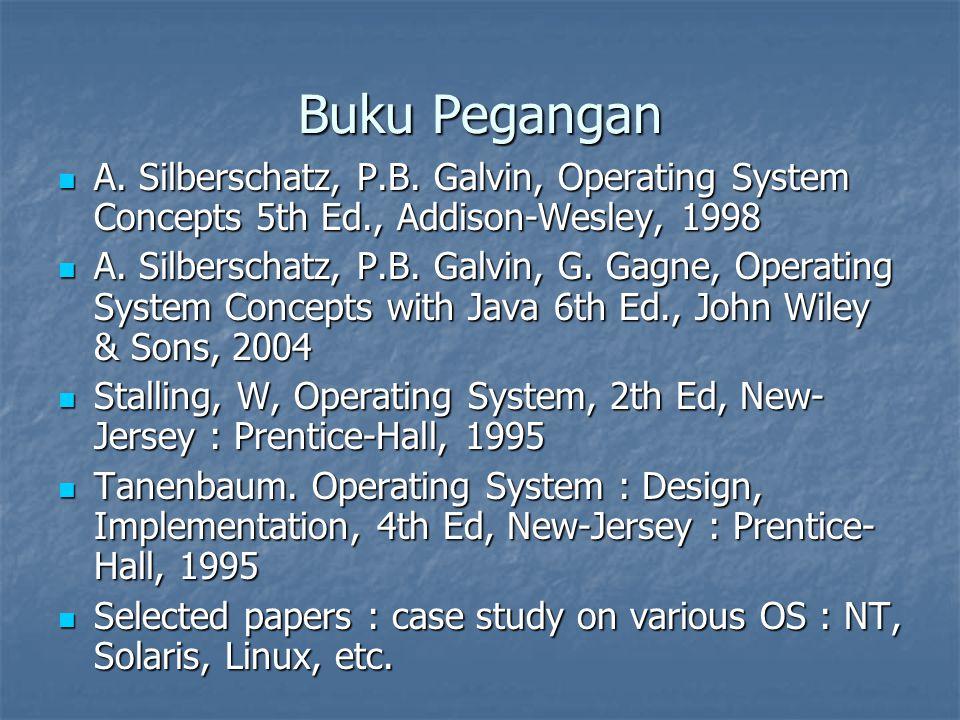 Buku Pegangan A. Silberschatz, P.B. Galvin, Operating System Concepts 5th Ed., Addison-Wesley, 1998.