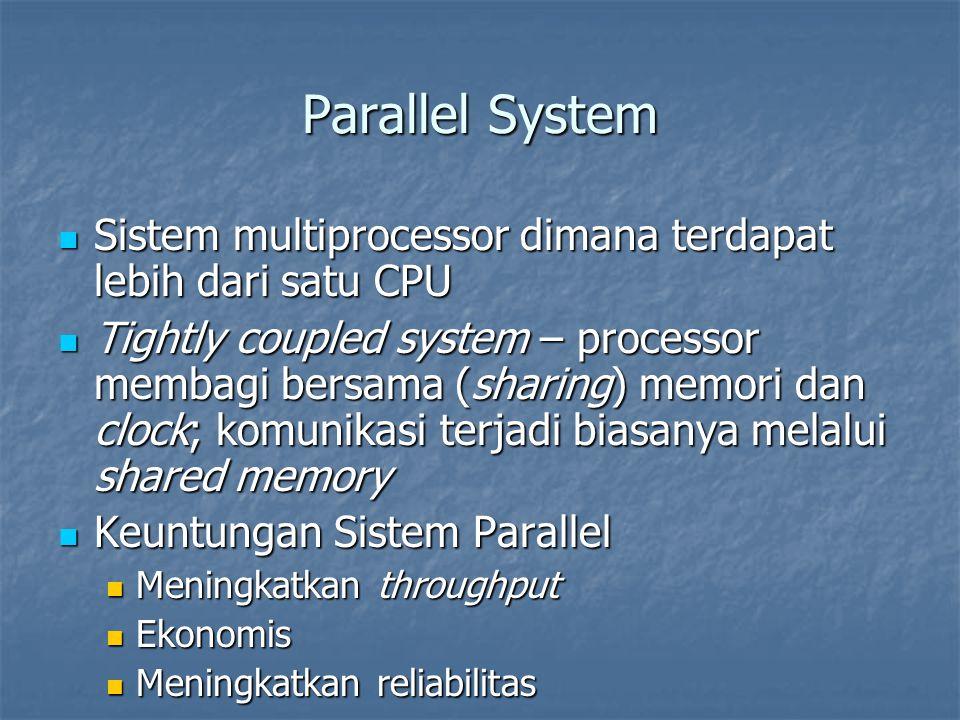 Parallel System Sistem multiprocessor dimana terdapat lebih dari satu CPU.