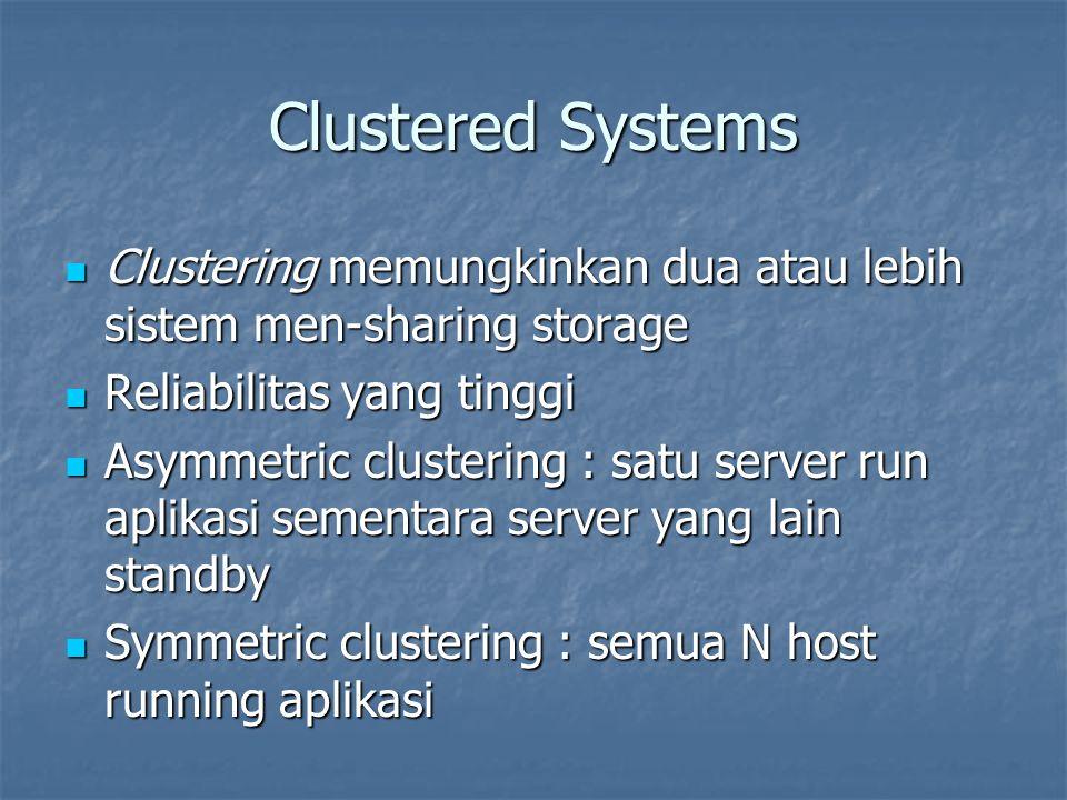 Clustered Systems Clustering memungkinkan dua atau lebih sistem men-sharing storage. Reliabilitas yang tinggi.