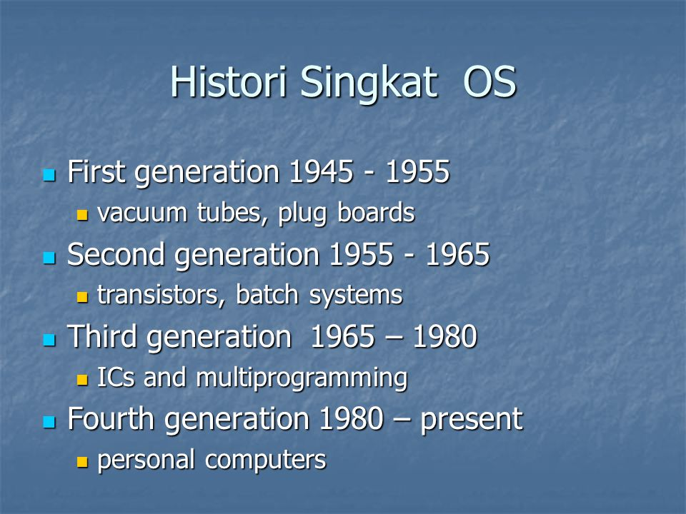 Histori Singkat OS First generation 1945 - 1955