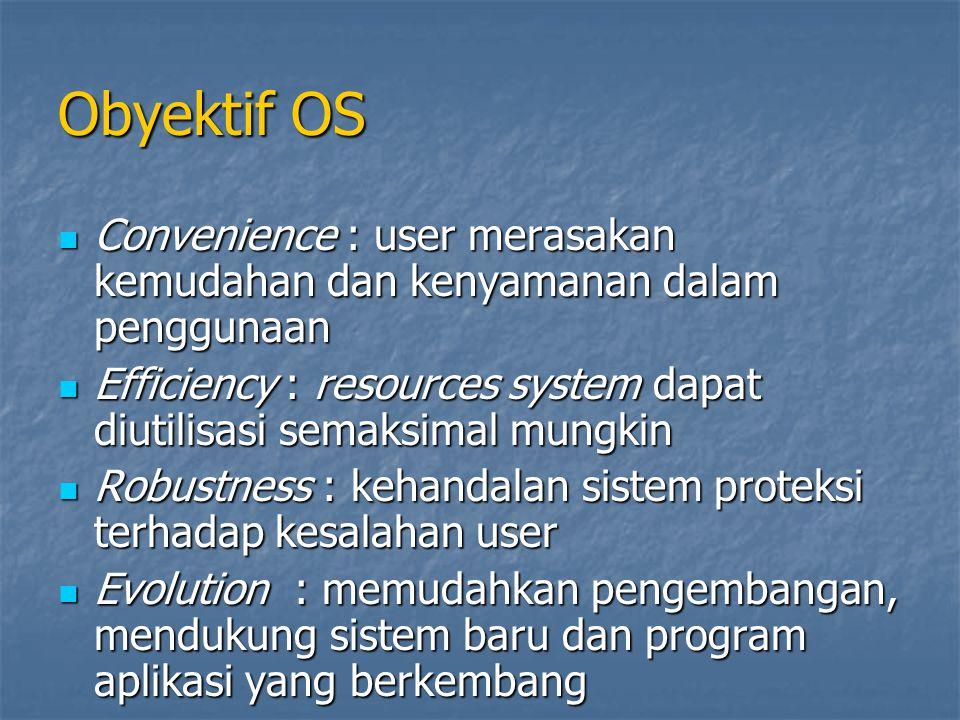 Obyektif OS Convenience : user merasakan kemudahan dan kenyamanan dalam penggunaan.