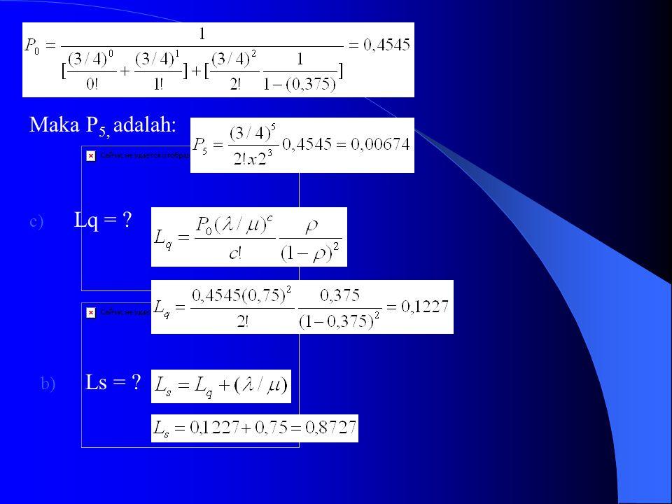 Maka P5, adalah: Lq = Ls =