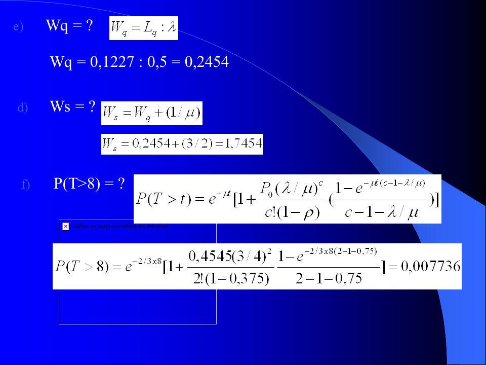 Wq = Wq = 0,1227 : 0,5 = 0,2454 Ws = P(T>8) =