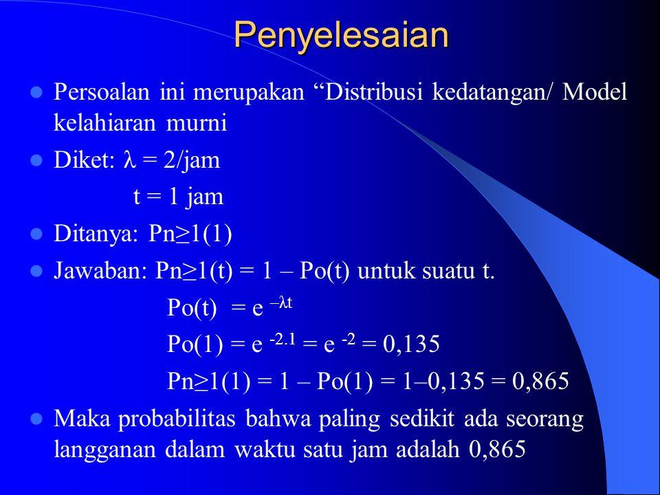 Penyelesaian Persoalan ini merupakan Distribusi kedatangan/ Model kelahiaran murni. Diket: λ = 2/jam.