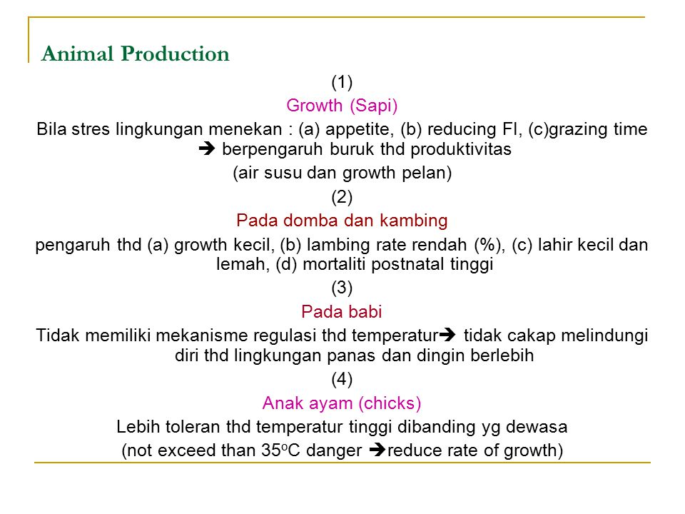 Animal Production (1) Growth (Sapi)