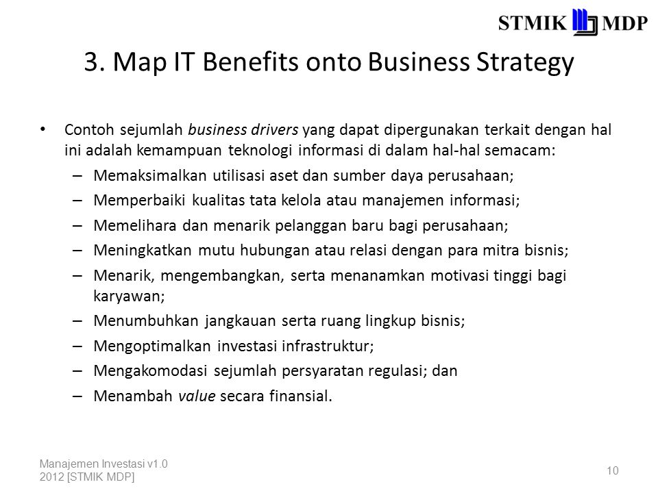 3. Map IT Benefits onto Business Strategy