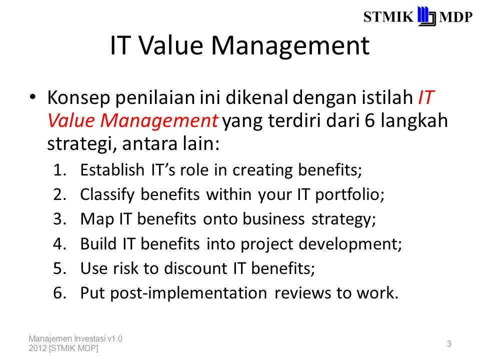 IT Value Management Konsep penilaian ini dikenal dengan istilah IT Value Management yang terdiri dari 6 langkah strategi, antara lain:
