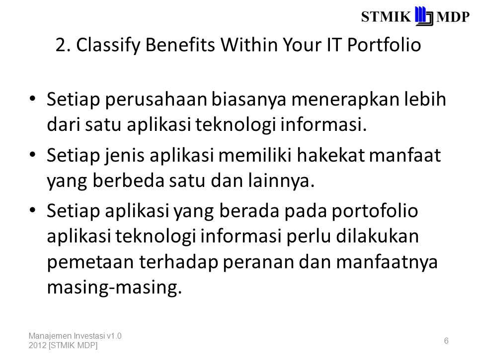 2. Classify Benefits Within Your IT Portfolio