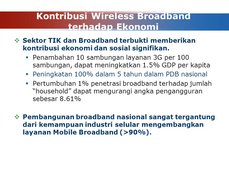 Kontribusi Wireless Broadband terhadap Ekonomi