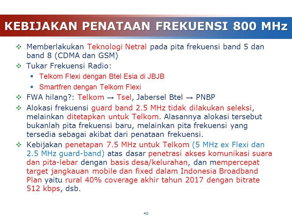 KEBIJAKAN PENATAAN FREKUENSI 800 MHz