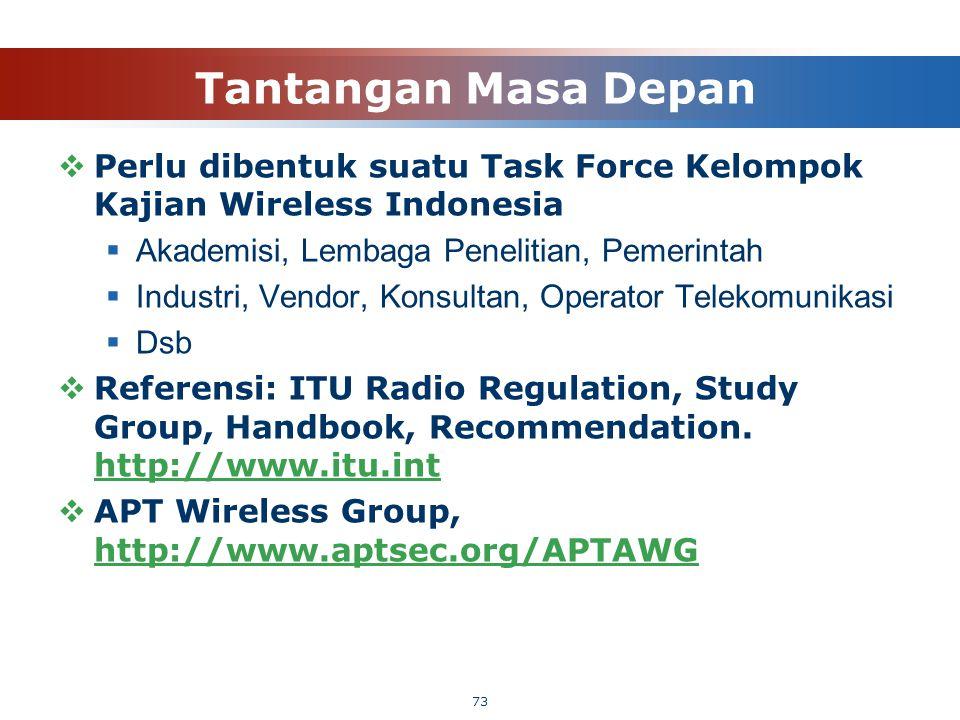 Tantangan Masa Depan Perlu dibentuk suatu Task Force Kelompok Kajian Wireless Indonesia. Akademisi, Lembaga Penelitian, Pemerintah.