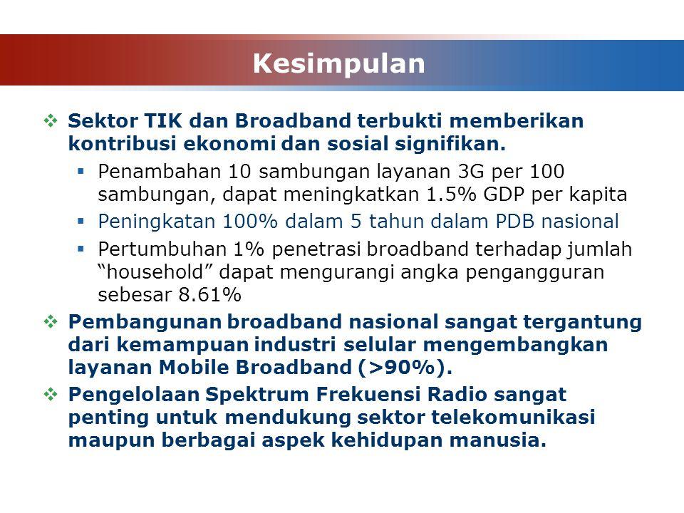 Kesimpulan Sektor TIK dan Broadband terbukti memberikan kontribusi ekonomi dan sosial signifikan.