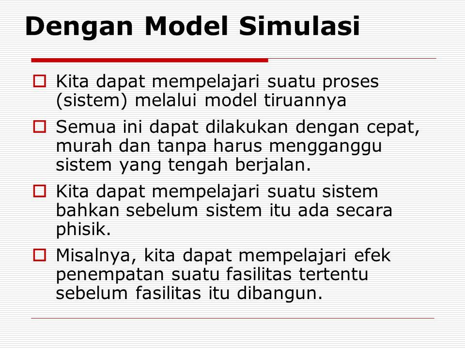Dengan Model Simulasi Kita dapat mempelajari suatu proses (sistem) melalui model tiruannya.