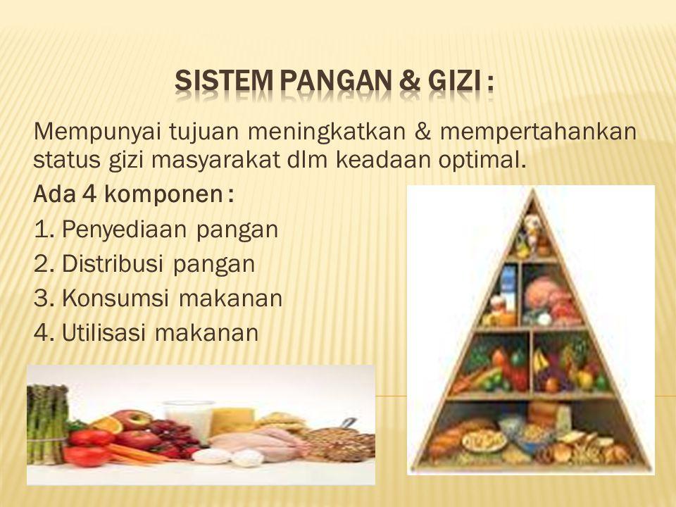 SISTEM PANGAN & GIZI : Mempunyai tujuan meningkatkan & mempertahankan status gizi masyarakat dlm keadaan optimal.