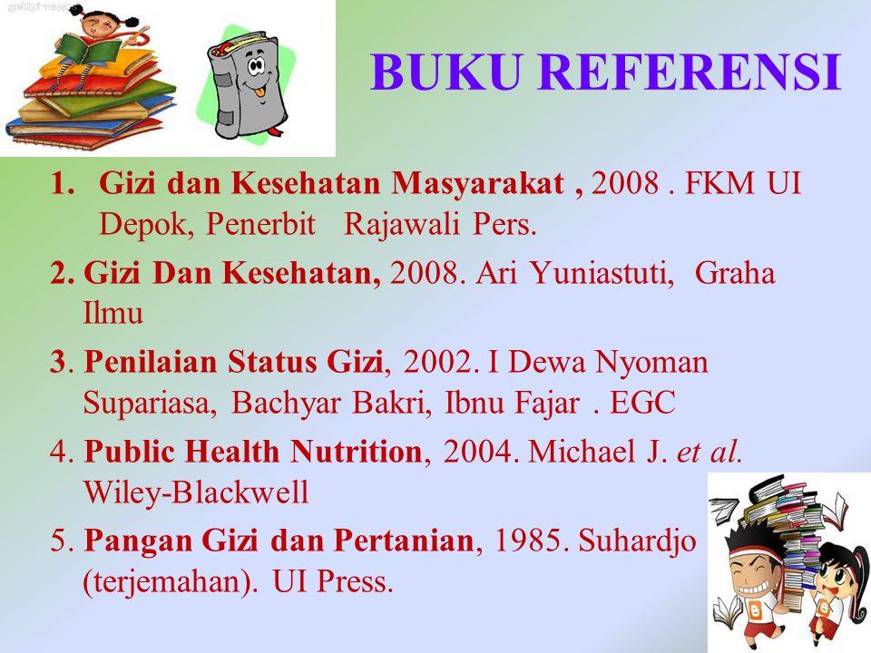 BUKU REFERENSI Gizi dan Kesehatan Masyarakat , 2008 . FKM UI Depok, Penerbit Rajawali Pers.