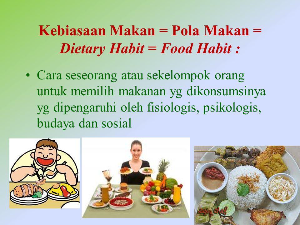 Kebiasaan Makan = Pola Makan = Dietary Habit = Food Habit :