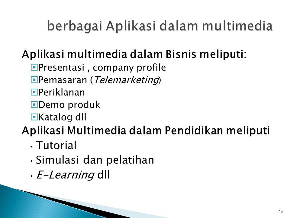 berbagai Aplikasi dalam multimedia