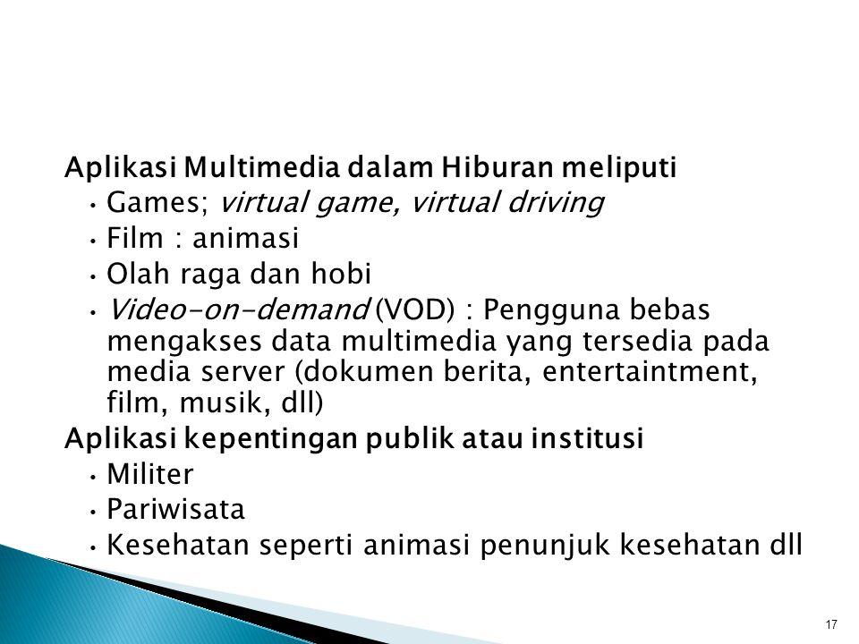 Aplikasi Multimedia dalam Hiburan meliputi