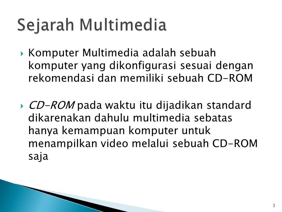 Sejarah Multimedia Komputer Multimedia adalah sebuah komputer yang dikonfigurasi sesuai dengan rekomendasi dan memiliki sebuah CD-ROM.