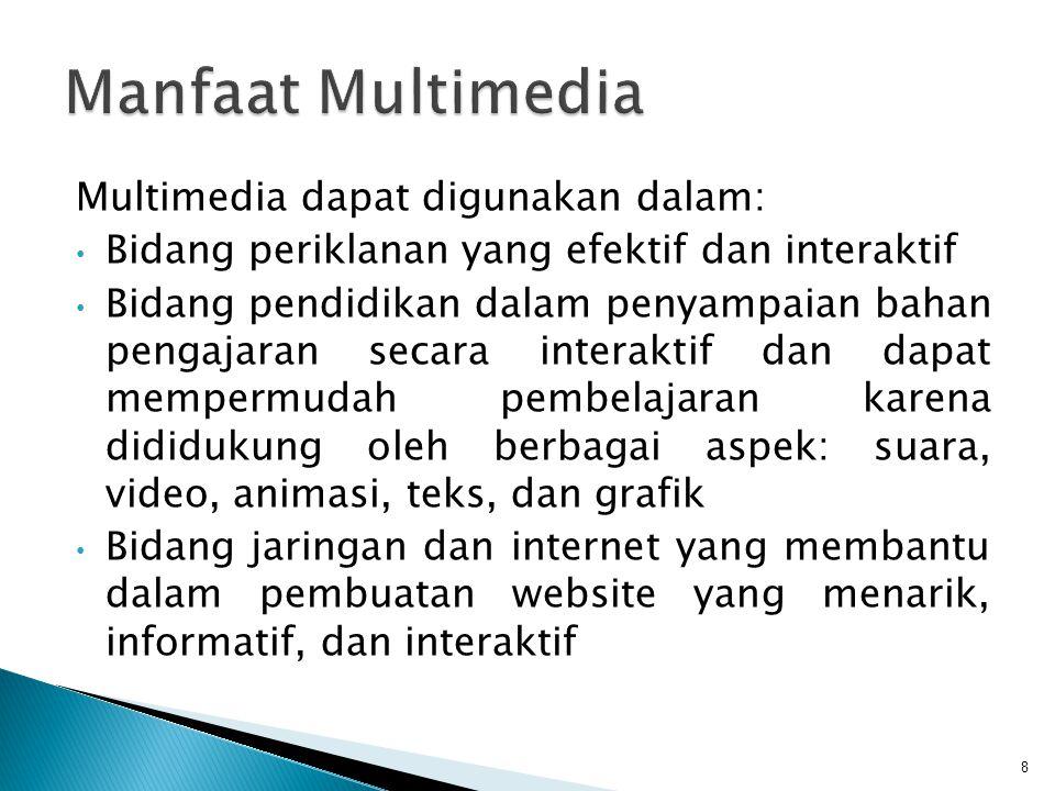 Manfaat Multimedia Multimedia dapat digunakan dalam: